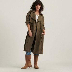 LUCKY BRAND Relaxed Double Breasted Trench Coat S